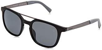 Timberland Men's TB9133 Sunglasses, (Matte Black/Smoke Polarized)