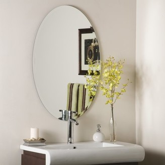 Helmer Décor Wonderland Decor Wonderland Oval Bevel Frameless Wall Mirror 24 inx36 in
