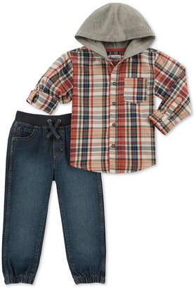 Kids Headquarters Little Boys 2-Pc. Hooded Plaid Shirt & Denim Jogger Pants Set