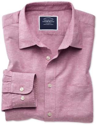 Charles Tyrwhitt Classic Fit Pink Cotton Linen Cotton Linen Mix Casual Shirt Single Cuff Size Medium