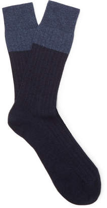 NN07 Colour-Block Ribbed-Knit Socks