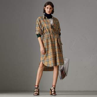 Burberry Vintage Check Cotton Tie-waist Shirt Dress