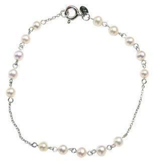 Small Pearl Station Bracelet - White ( 7.5