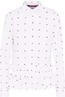 McQ Ruffle-Trimmed Printed Cotton-Poplin Shirt