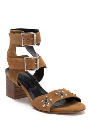 Rebecca Minkoff Sophia Suede Flower Studded Block Heel Sandal