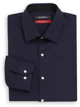 Saks Fifth Avenue Trim-Fit Solid Stretch-Cotton Dress Shirt
