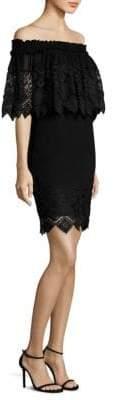 Badgley Mischka Cape Lace Dress