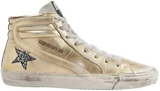 Golden Goose Slide Glitter Star Gold Leather High-Top Sneakers
