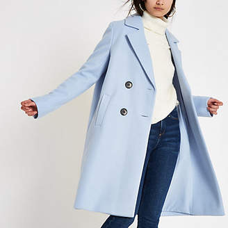 River Island Womens Blue knit double breasted coat