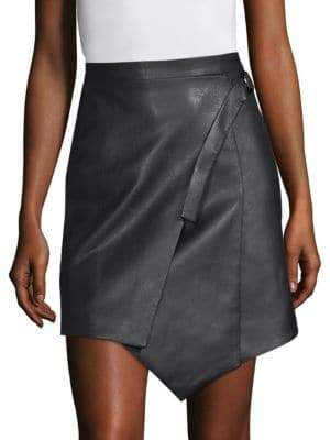 BCBGMAXAZRIA Faux Leather Wrap Front Skirt