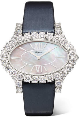 Chopard L'heure Du Diamant 27.50mm 18-karat White Gold, Satin, Diamond And Mother-of-pearl Watch