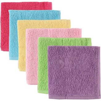 Luvable Friends Baby Woven Terry Washcloths, Pink, 6 Pack