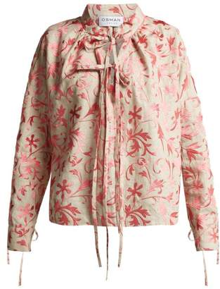Osman Jacky Floral Embroidered Linen Top - Womens - Pink Multi