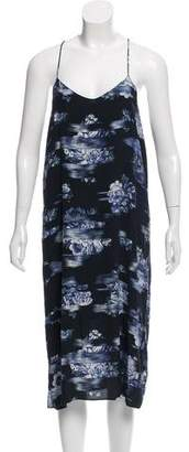 Tibi Sleeveless Floral Print Midi Dress