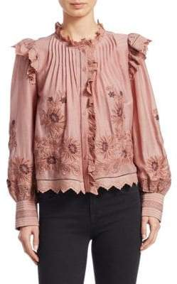Sea Greta Long-Sleeve Embroidered Ruffle Blouse