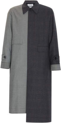 Loewe Two-Tone Checked Wool Coat