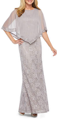 ONYX Onyx 3/4 Sleeve Cape Lace Evening Gown