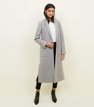New Look Pale Grey Bar Back Revere Collar Maxi Coat