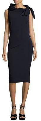 Badgley Mischka Sleeveless Tie-Neck Cocktail Dress, Navy