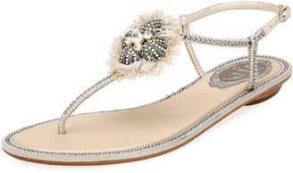 Rene Caovilla Crystal-Embellished Flat Leather Thong Sandal