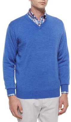 Peter Millar Wool V-Neck Sweater, Blue $150 thestylecure.com