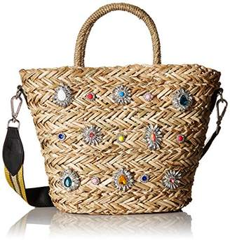 Steve Madden Cheryl Woven Multi Colored Jewel Rhinestone Tote with Wide Shoulder Strap