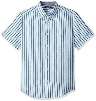 Nautica Men's Short Sleeve Classic Fit Striped Linen Button Down Shirt