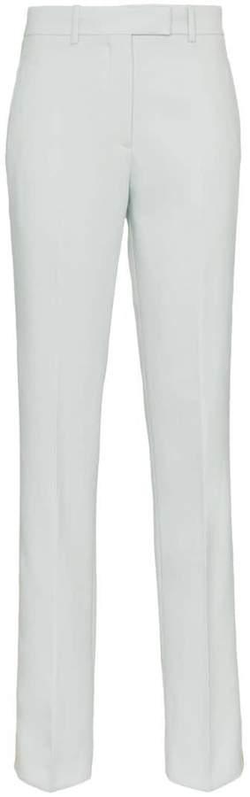 Straight Leg Wool Trousers with Tuxedo Stripe