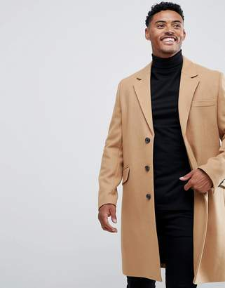 Asos Design DESIGN wool mix overcoat in camel