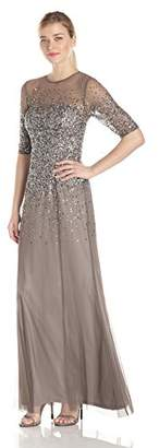 Adrianna Papell Women's 3/4 Sleeve Beaded Illusion Gown with Sweetheart Neckline $280 thestylecure.com