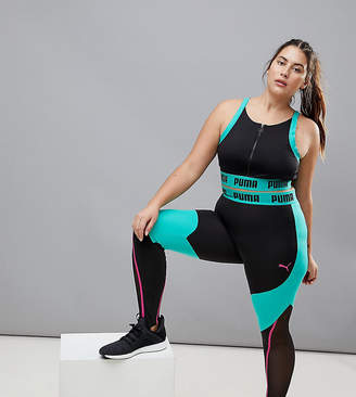 Puma Plus Exclusive To Asos Paneled Legging In Black And Green