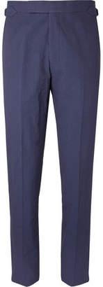Richard James Navy Hyde Slim-Fit Cotton-Seersucker Suit Trousers