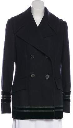 Gucci Wool Leather-Trimmed Coat