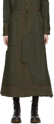 Y's Ys Khaki Patchwork Skirt Trousers