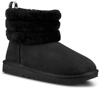 UGG Women's Fluff Mini Quilted Round Toe Suede & Sheepskin Booties