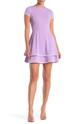 Love...Ady Contrast Trim Cap Sleeve Fit & Flare Dress