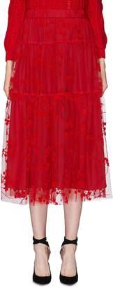 Co Floral velvet flock print tiered tulle skirt