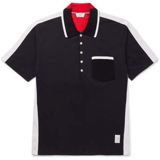 Thom Browne Grosgrain-Trimmed Cotton-Jersey Polo Shirt - Men - Navy