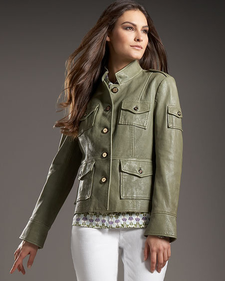 Tory Burch Leather Sergeant Jacket