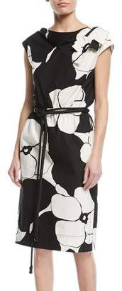 Marc Jacobs Cap-Sleeve Floral-Print Belted Cotton Dress w/ Shoulder Bow