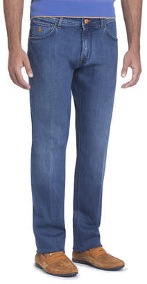 Stefano Ricci Stretch-Denim Slim-Straight Jeans with Cognac Patch