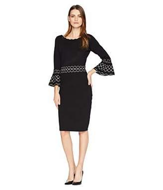 Gabby Skye Women's 3/4 Bell Sleeve Round Neck Sweater Sheath Dress