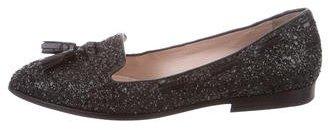 Miu MiuMiu Miu Glitter Round-Toe Loafers