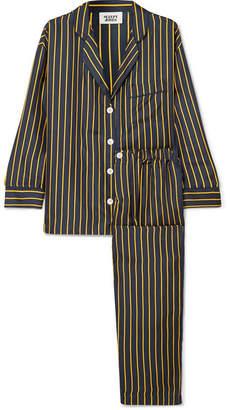 Sleepy Jones - Marina Striped Silk-charmeuse Pajama Set - Navy