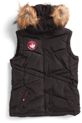 Big Girls Puffer Vest With Faux Fur Trim