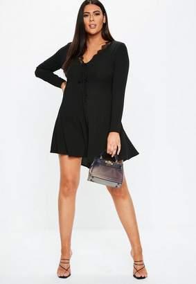 139a2c438c2 Missguided Plus Size Black Lace Trim Mini Tea Dress