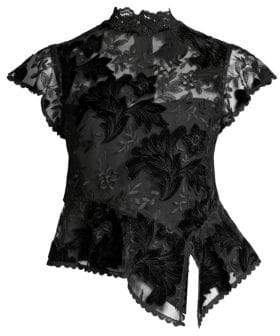 Nanette Lepore Trickery Floral-Embroidered Peplum Top