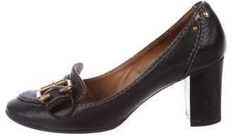 Chloé Leather Round-Toe Pumps