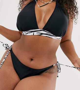 South Beach Curve Exclusive mix and match string bikini bottoms in zebra