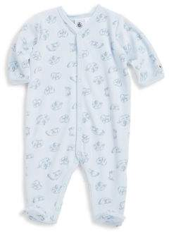Petit Bateau Baby's Lyrics Polar Bear Print Velour Footie